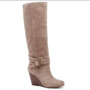 Tan suede wedge boots